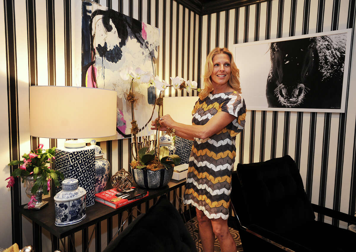 Designer Lisa Ehrlich of Greenwichin the room she created at the annual Rooms with a View interior design showcase at the Southport Congregational Church in Fairfield, Conn. on Sunday, November 15, 2015. Rooms this year were designed around the theme