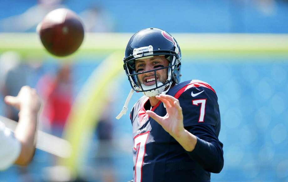 Houston Texans quarterback Brian Hoyer (7) smiles as he warms up before an NFL game against the Carolina Panthers at Bank of America Stadium in Charlotte, N.C. on Sunday, Sept. 20, 2015. (Chris Keane/AP Images for Panini) Photo: Chris Keane, FRE / Associated Press / FR127116 AP
