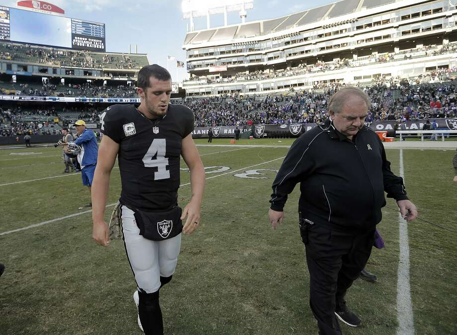 Derek Carr (4) walks off the field after the Raiders lost to the Vikings at O.co Coliseum in Oakland, Calif., on Sunday, November 15, 2015. The Vikings defeated the Raiders 30-14. Photo: Carlos Avila Gonzalez, The Chronicle