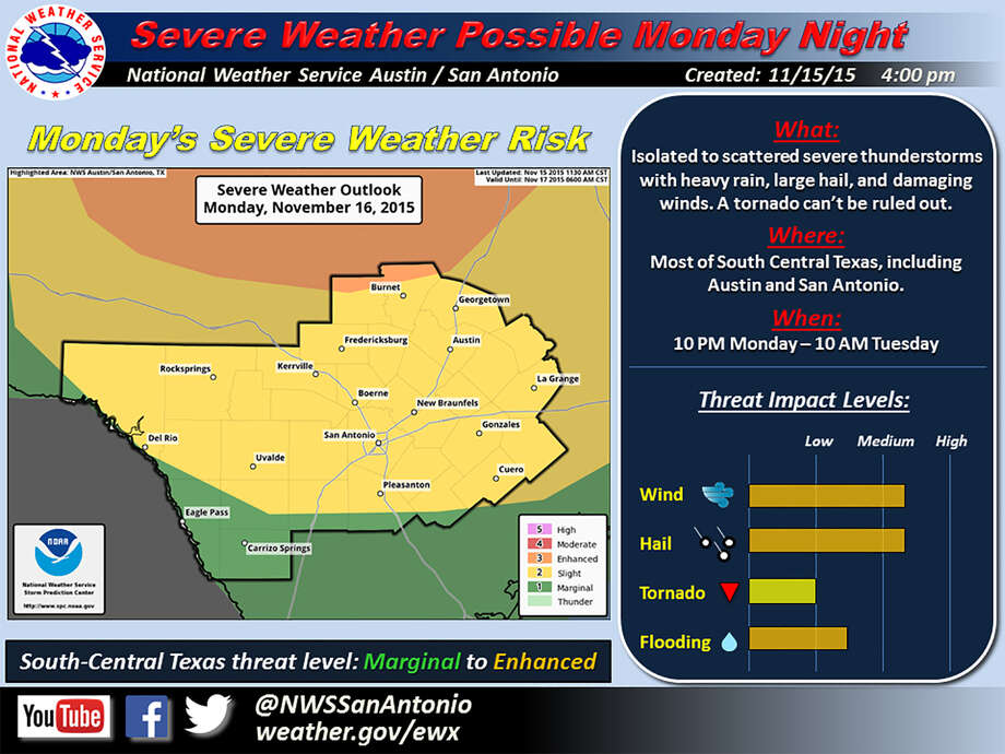 Severe thunderstorms possible Monday. Photo: Courtesy National Weather Service