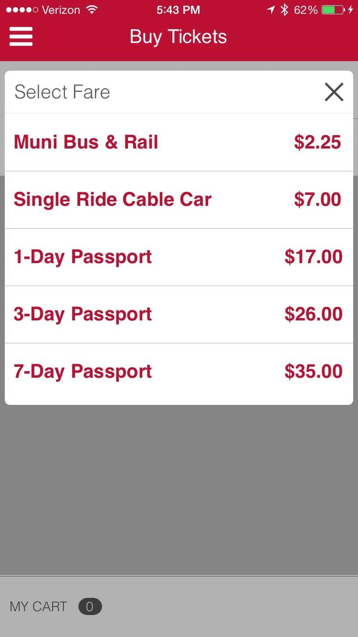 A screen grab of the Muni app.