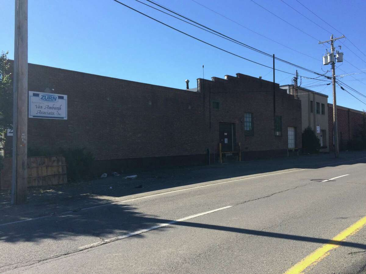 The warehouse on Railroad Avenue in Colonie where police said hundreds of University at Albany students were trying to get into an unsanctioned party Oct. 10, 2015. The party organizer and building owner face 28 town, building and code violations at a Dec. 2015 town court appearance.(Lauren Stanforth)