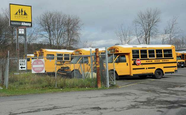 Durham School Services buses are seen in the parking lot at the Durham School Services headquarters on South Pearl St. on Friday, Nov. 13, 2015 in Albany, N.Y.  (Lori Van Buren / Times Union) Photo: Lori Van Buren / 00034233A