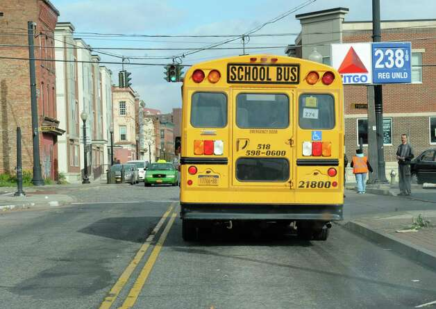 A Durham School Services bus is seen going down South Pearl St. on Friday, Nov. 13, 2015 in Albany, N.Y.  (Lori Van Buren / Times Union) Photo: Lori Van Buren / 00034233A
