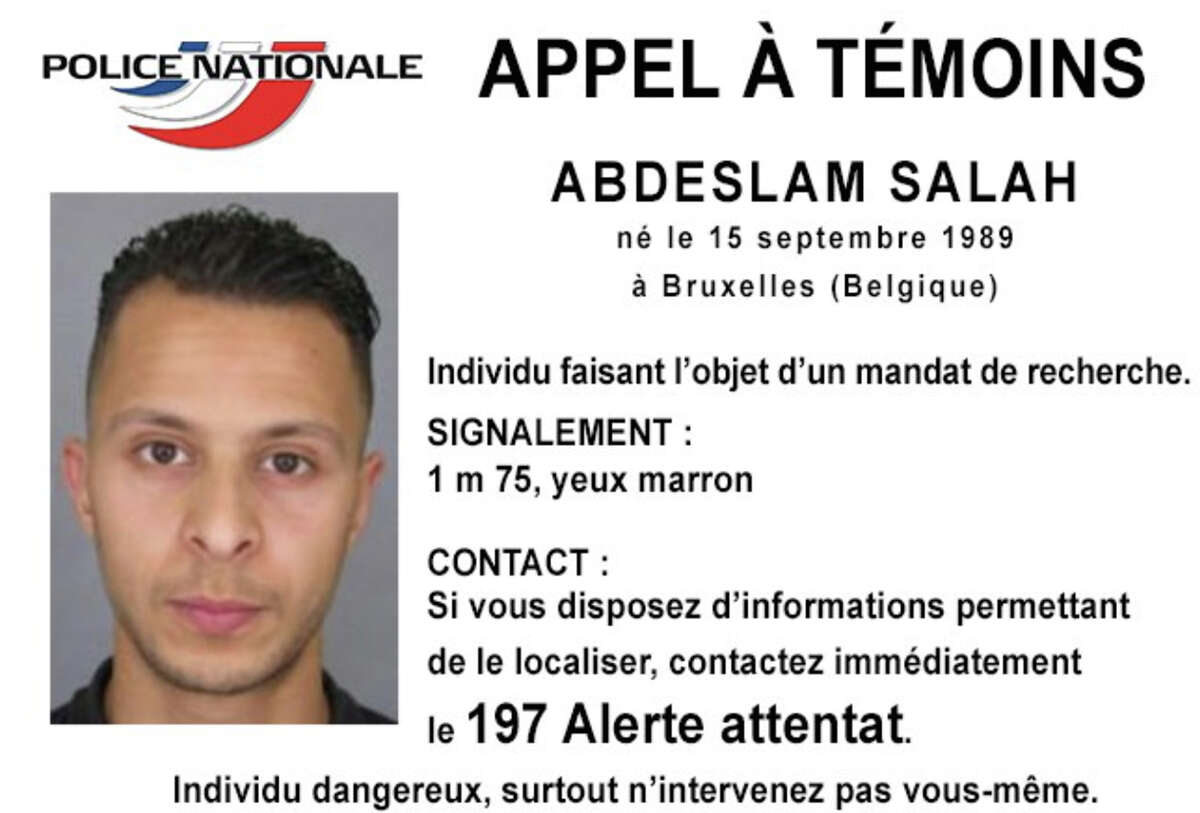 This undated file photo released Friday, Nov. 13, 2015, by French Police shows 26-year old Salah Abdeslam, who is wanted by police in connection with recent terror attacks in Paris, as police investigations continue. The notice, released on the national police Twitter account, says anyone seeing Salah Abdeslam, should consider him dangerous and call authorities immediately. The notice reads in French: