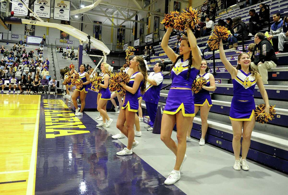 UAlbany cheerleaders perform as UAlbany plays Pepperdine during the first half of an NCAA women's college basketball game on Sunday, Nov. 15, 2015, in Albany, N.Y. (Hans Pennink / Special to the Times Union) ORG XMIT: HP114