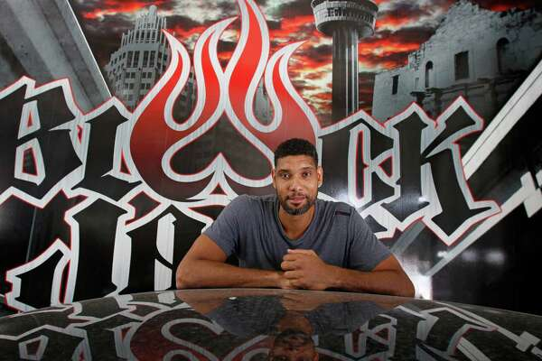 Tim Duncan poses at Black Jack Speed Shop on Huebner Road on Sept. 20, 2015.