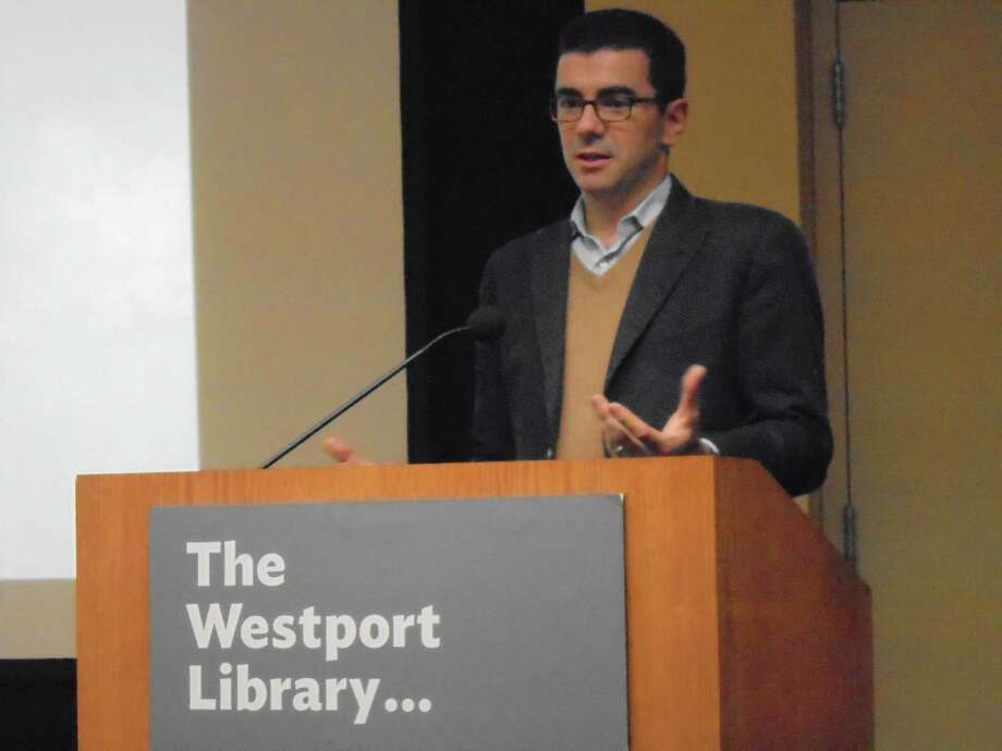"Award-winning journalist Ryan D'Agostino spoke at the Westport Library"" about the horrific events of the 2007 Cheshire home invasion and the resilience of the lone survivor, which D'Agostino recounts in his book ""The Rising: Murder, Heartbreak, and the Power of Human Resilience in an American Town. Photo: Meg Barone / Meg Barone / Connecticut Post"