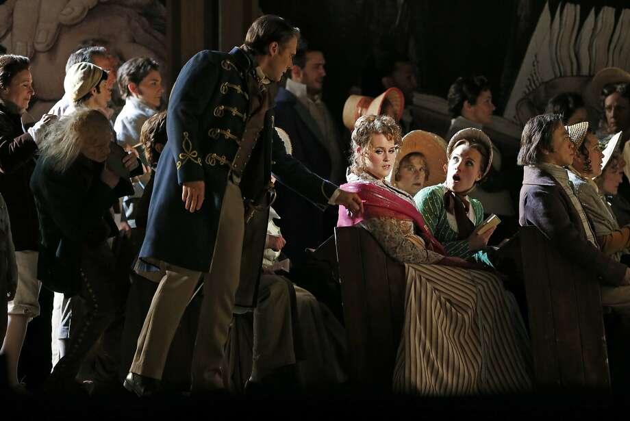 "Brandon Jovanovich as Walther, Rachel Willis-Sorensen as Eva and Sasha Cooke as Magdalene in Wagner's ""Die Meistersinger."" Photo: Scott Strazzante, The Chronicle"