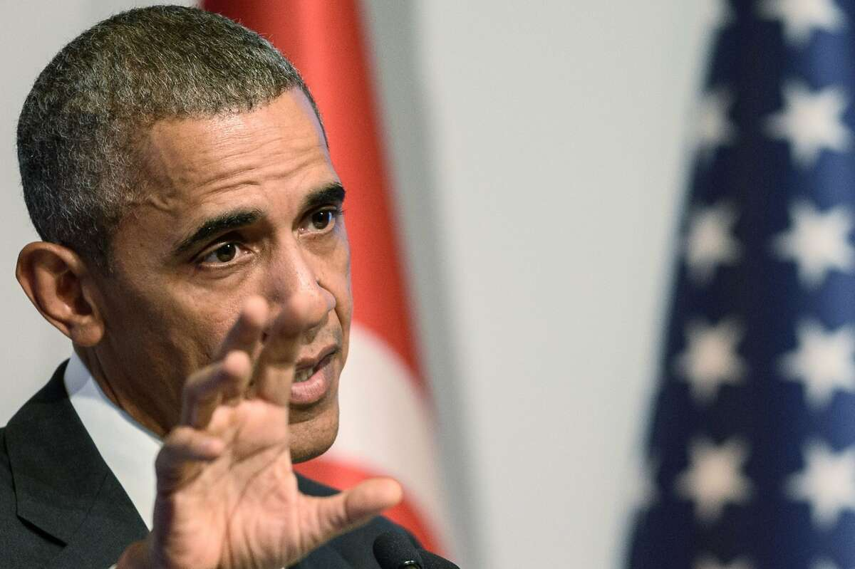 US President Barack Obama gestures during a press conference following the G20 summit in Antalya on November 16, 2015. Obama said on November 16 the United States had no precise intelligence warning of the Paris bombing and shooting attacks that have been claimed by Islamic State group jihadists. The United States has agreed to speed up its sharing of military intelligence with France to try to avert such assaults, the US leader added in a news conference after a summit in Turkey. AFP PHOTO /OZAN KOSEOZAN KOSE/AFP/Getty Images