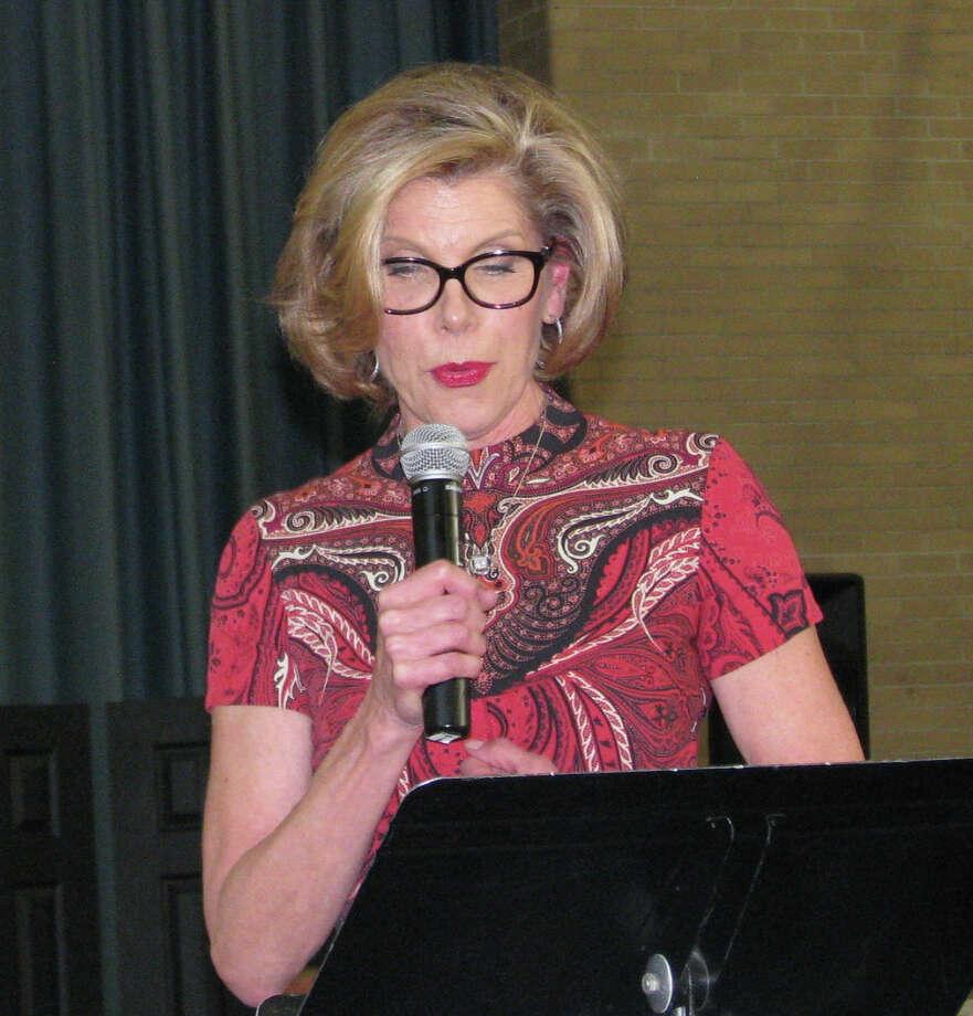 Spectrum/Actress Christine Baranski, Housatonic Valley Association auction chairwoman, encourages the crowd to bid high at HVA's annual auction held Nov. 8, 2015, in Washington. Courtesy of Housatonic Valley Association Photo: Contributed Photo / Contributed Photo / The News-Times Contributed