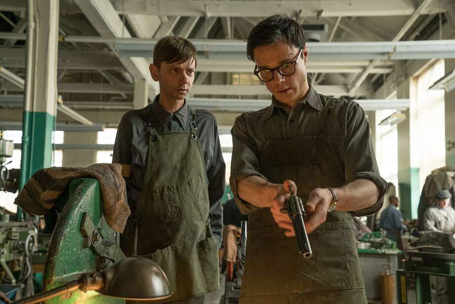 """Rupert Evans (right) plays a man who lives in the Japanese colonial capital of San Francisco in """"The Man in the High Castle,"""" with DJ Qualls. Photo: Amazon Studios"""