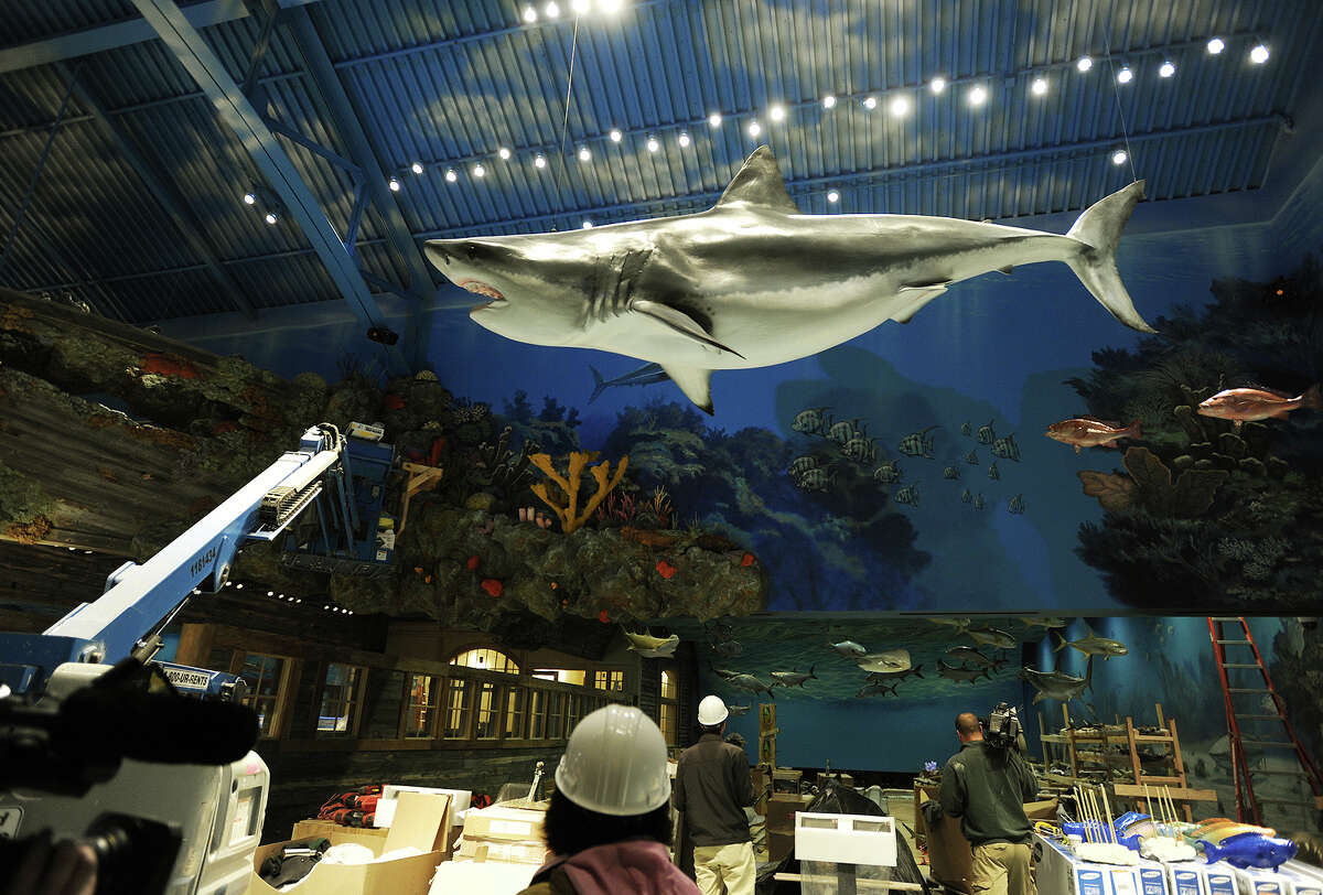 Work continues inside the new Bass Pro Shops store scheduled to open on November 18 on Steel Point in Bridgeport, Conn. on Tuesday, October 27, 2015.
