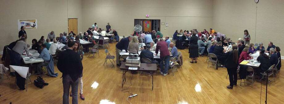 More than 120 people turned out Oct. 1 for the first workshop-style meeting to discuss a plan to revitalize downtown Bethel. Photo: Contributed