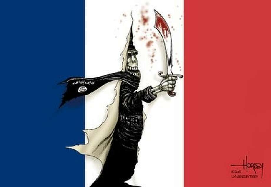 Syndicated cartoonists put focus on Paris attacks. Photo: Houston Chronicle