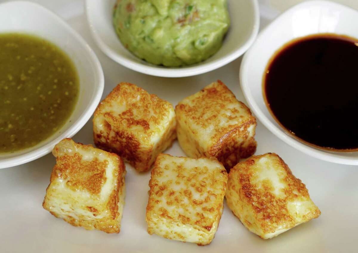 Fried cheese cube appetizer with salsas at Saltillo Mexican Kitchen