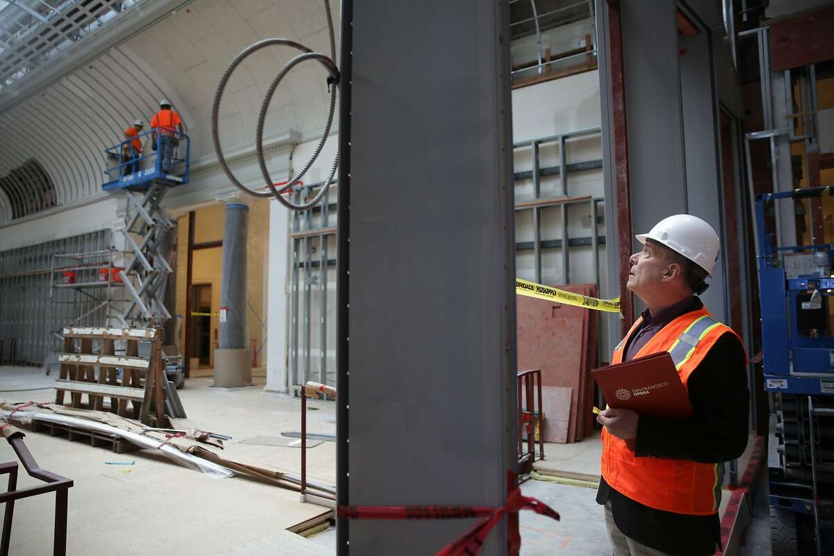 David Gockley, San Francisco Opera director, peers into the John M. Bryan Education Studio under construction during a tour of the Diane B. Wilsey Center for Opera on Monday, November 16, 2015 in San Francisco, Calif.