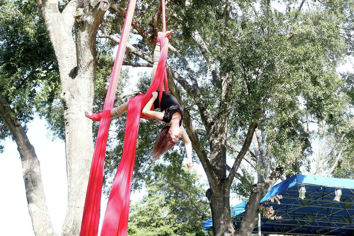 Aerial artist Hanna Skalsky performs at The 6th annual Friendswood Art in the Park Festival.