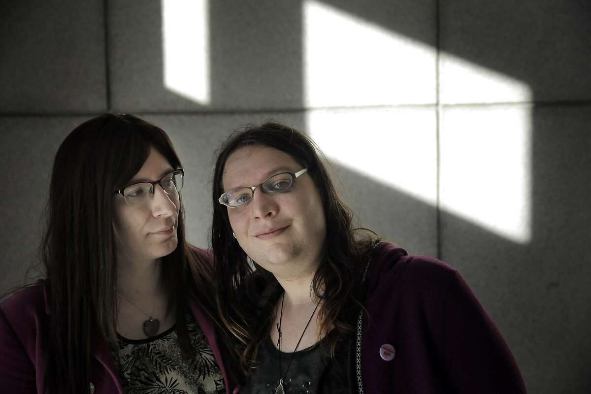 Samantha Hulsey, right, with her fiancee Daira Hopwood, both transgender women were attacked in what police are calling a hate crime in San Francisco, Calif., on Monday, November 16, 2015. Samantha emerged with a black eye, some upper body pain and swelling to her face and neck from the incident.