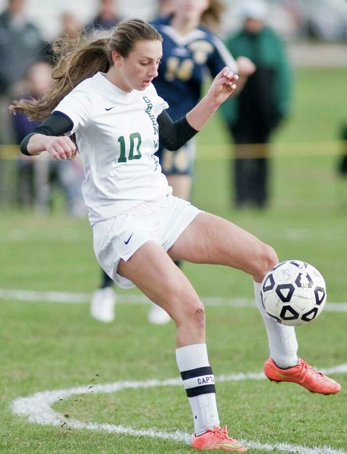FILE PHOTO: New Milford High School's Monica Baxter gets control of the ball in the Class LL game against Simsbury High School, played at New Milford High School. Friday, Nov 13, 2015 Photo: Scott Mullin / For The / The News-Times Freelance