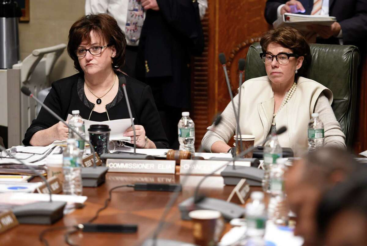 Commissioner of Education MaryEllen Elia, left, and Chancellor Merryl H. Tisch sit at the head of the conference table during a Board of Regents meeting Monday morning, Nov. 16, 2015, at the Education building in Albany, N.Y. (Skip Dickstein/Times Union)