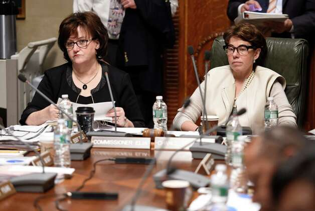 Commissioner of Education MaryEllen Elia, left, and Chancellor Merryl H. Tisch sit at the head of the conference table during a Board of Regents meeting Monday morning, Nov. 16, 2015, at the Education building in Albany, N.Y.  (Skip Dickstein/Times Union) Photo: SKIP DICKSTEIN / 00034261A