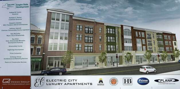 Artist rendering of new apartments on State Street just east of Erie Boulevard are just one of a number of new apartment buildings that are under construction Monday Nov. 16, 2015 in Schenectady, N.Y.       (Skip Dickstein/Times Union) Photo: SKIP DICKSTEIN / 00034270A