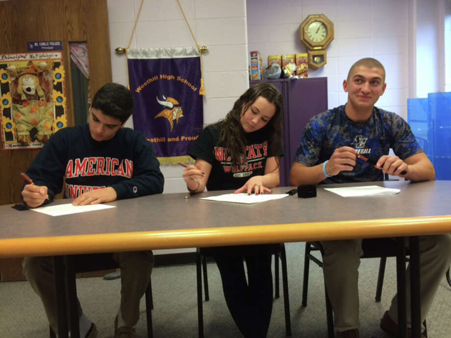 Matt Conte, Rachel Burston and Johnny Spoto sign National Letters of Intent at Westhill on Thursday, Nov. 12, 2015 Photo: Scott Ericson / Hearst Connectic / Scott Ericson / Hearst Connectic / Stamford Advocate Contributed