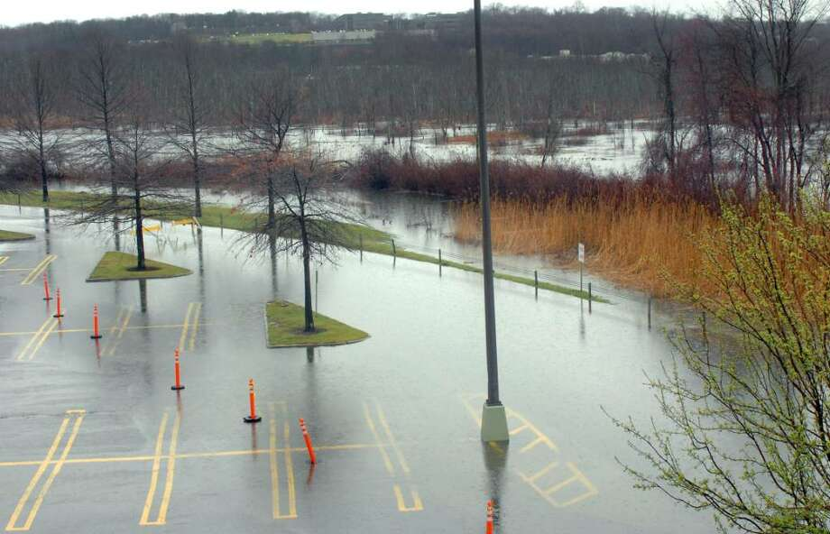 Flooding outside the Danbury Fair mall on Monday, March 28, 2010. Photo: Michael Duffy / The News-Times
