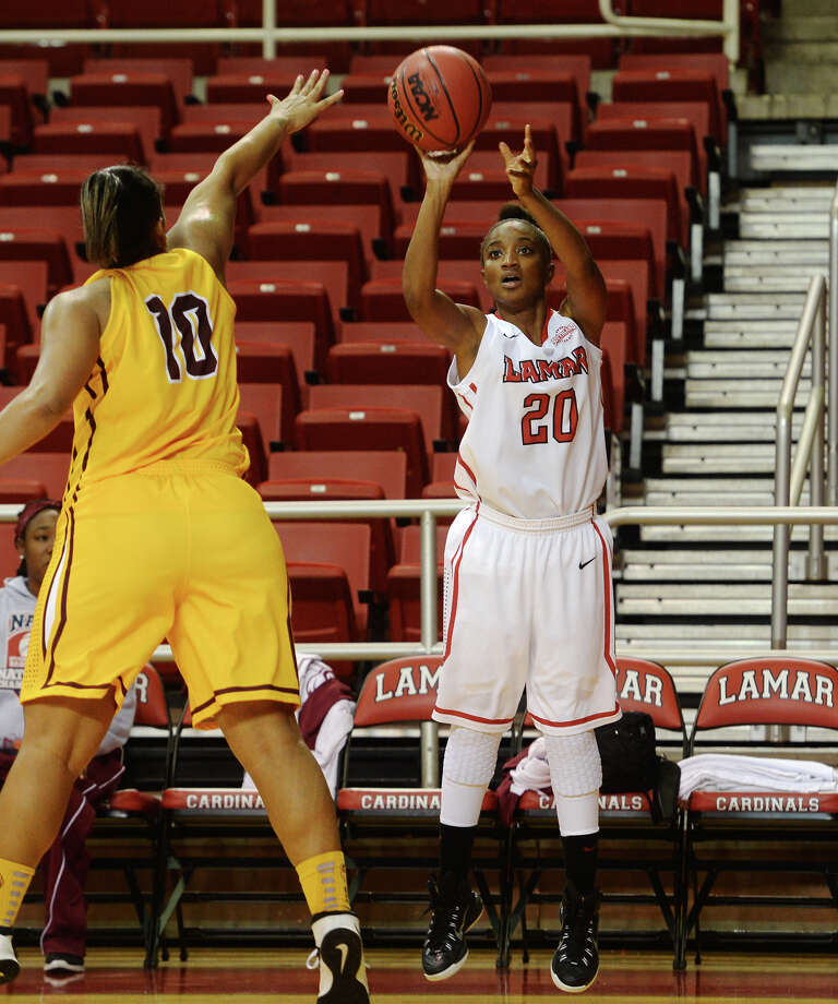 Lamar's senior guard JaMeisha Edwards, who was voted first team on the preseason Southland Conference team, is a major reason why the Lady Cardinals were picked as the favorites to win the conference title. Lamar's JaMeisha Edwards, No. 20, goes for a shot during Tuesday's game against Huston-Tillotson. The Lamar Lady Cardinals hosted Huston-Tillotson Lady Rams at the Montagne Center on Tuesday night. Photo taken Tuesday 12/2/14 Jake Daniels/The Enterprise   Manditory Credit, No Sales, Mags Out, TV OUT, Web: AP Members Only Photo: Jake Daniels / ©2014 The Beaumont Enterprise/Jake Daniels