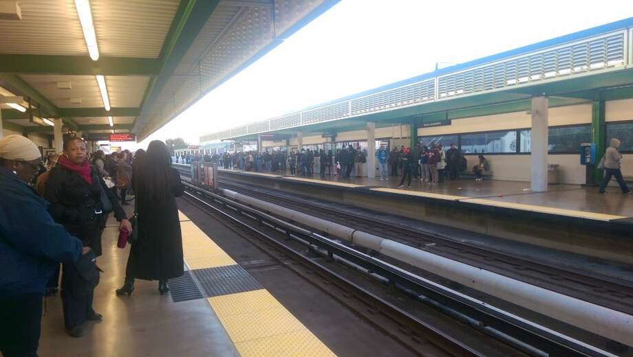 Passengers were delayed at the San Leandro BART station this morning due to equipment problems between the Fruitvale and Coliseum stations. Photo: Courtesy Kaushal Vaddiraj