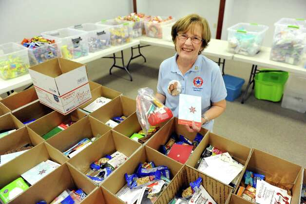 Karen Curtis of the Capital Region Blue Star Mothers oversees the Holiday Military Support Drive on Saturday, Nov. 7, 2015, at Colonie Center in Colonie, N.Y. The freedom boxes are shipped to troops overseas. (Cindy Schultz / Times Union) Photo: Cindy Schultz / 00034097A