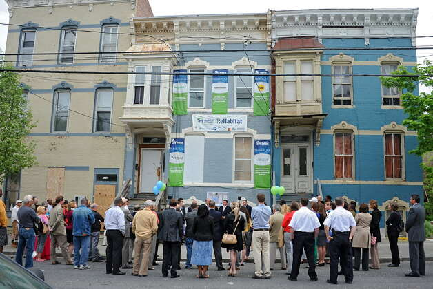 A press conference was held at 126 Lark St. in Albany last year where Habitat for Humanity Capital District announced its ReHabitat initiative to fight blight and revitalize neighborhoods. (Lori Van Buren / Times Union)