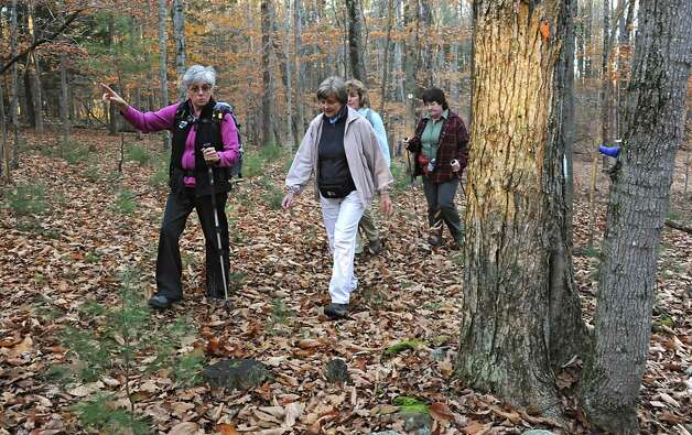 Dorothy Surprise, left, leads a group of people including, from left, June Van Ness of East Greenbush, Cheryl Bielkiewicz of Latham and Shelly Sheehy of Latham for a walk in Grafton Lakes State Park as part of a meetup on Wednesday, Nov. 4, 2015 in Grafton, N.Y. (Lori Van Buren / Times Union) Photo: Lori Van Buren / 00034068A