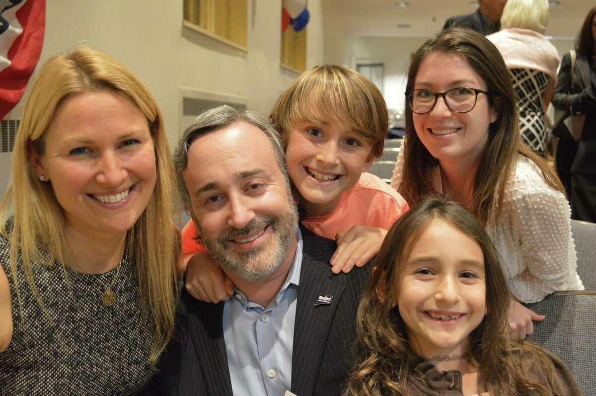 Newly elected Board of Finance member Sheri Gordon, left, her husband Paul, son Max, 11, daughter Chloe, 7, and nanny Marine Martin.