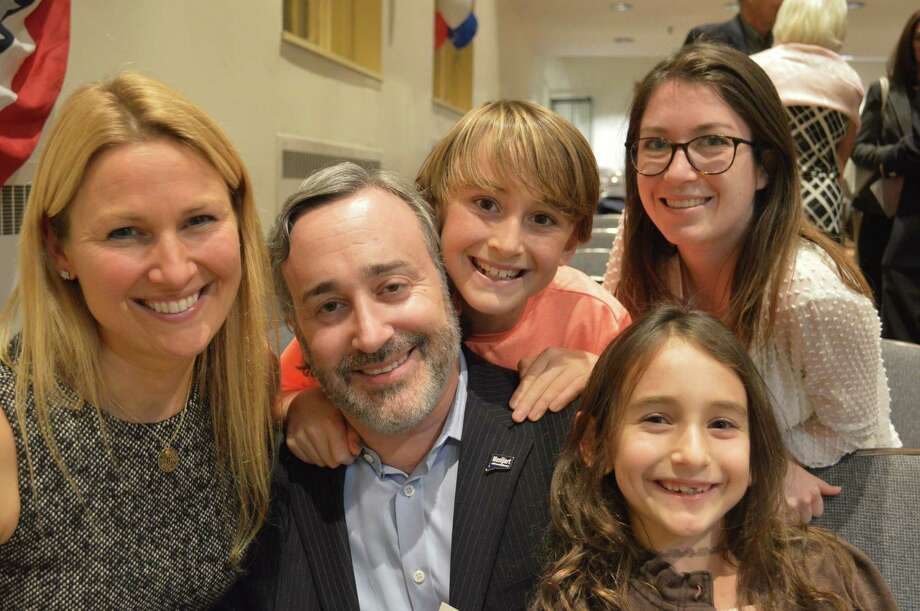 Newly elected Board of Finance member Sheri Gordon, left, her husband Paul, son Max, 11, daughter Chloe, 7, and nanny Marine Martin. Photo: Jarret Liotta / Jarret Liotta / Connecticut Post