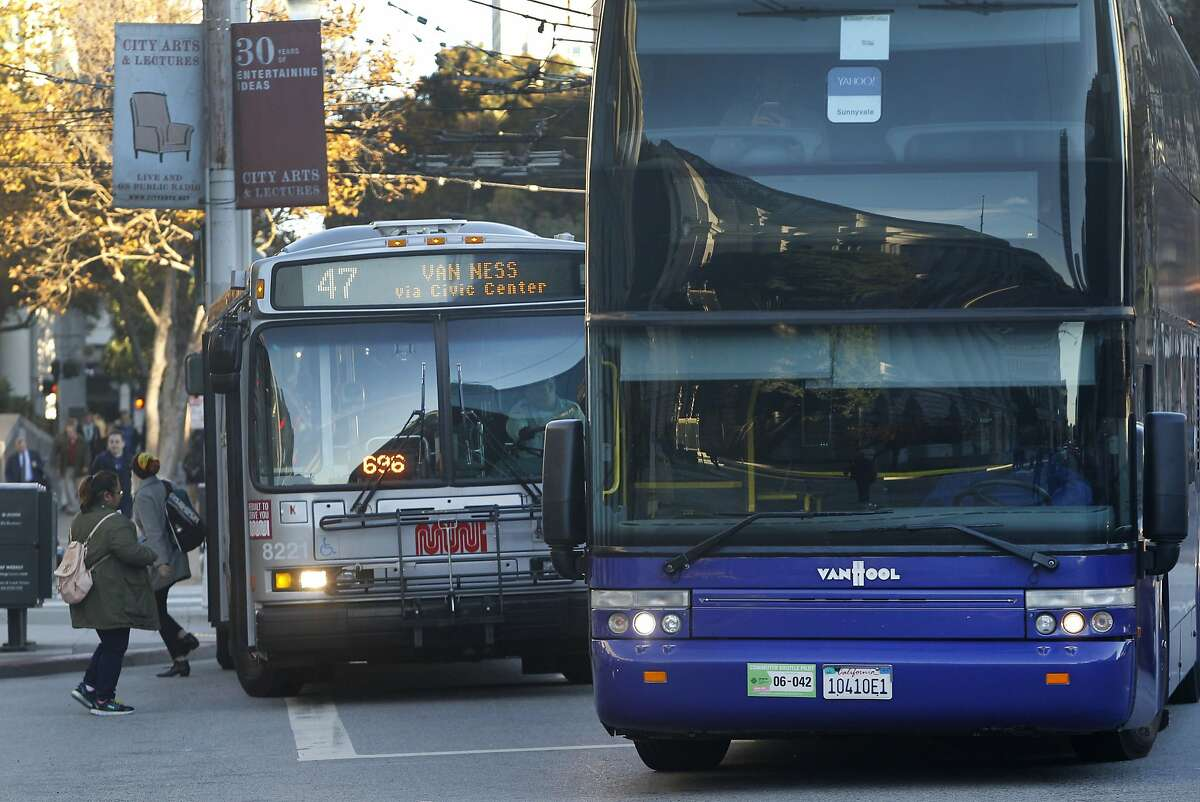 A Yahoo shuttle bus pulls into a passenger loading zone in front of a Muni bus to pick up tech workers at Van Ness Avenue and McAllister Street in San Francisco, Calif. on Tuesday, Nov. 17, 2015.