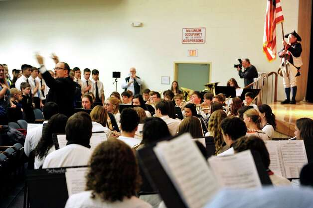 Members of the school band perform during an event by the U.S. Mint to unveil the coin Honoring Saratoga National Historical Park on Tuesday, Nov. 17, 2015, at Schuylerville High School in Schuylerville, N.Y.  The new coin is part of the U.S. Mint's America the Beautiful Quarters Program.  (Paul Buckowski / Times Union) Photo: PAUL BUCKOWSKI / 00034051A