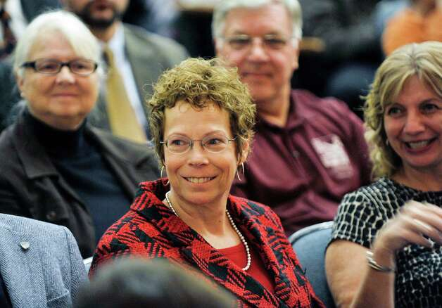 Artist Barbara Fox from Little Valley is seen at an event by the U.S. Mint to unveil the coin honoring Saratoga National Historical Park on Tuesday, Nov. 17, 2015, at Schuylerville High School in Schuylerville, N.Y.  Fox designed the back side of the coin honoring the park   The new coin is part of the U.S. Mint's America the Beautiful Quarters Program.  (Paul Buckowski / Times Union) Photo: PAUL BUCKOWSKI / 00034051A