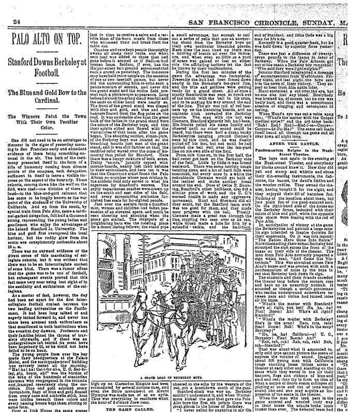 Chronicle coverage of the first Big Game between Stanford and Cal March 19, 1892