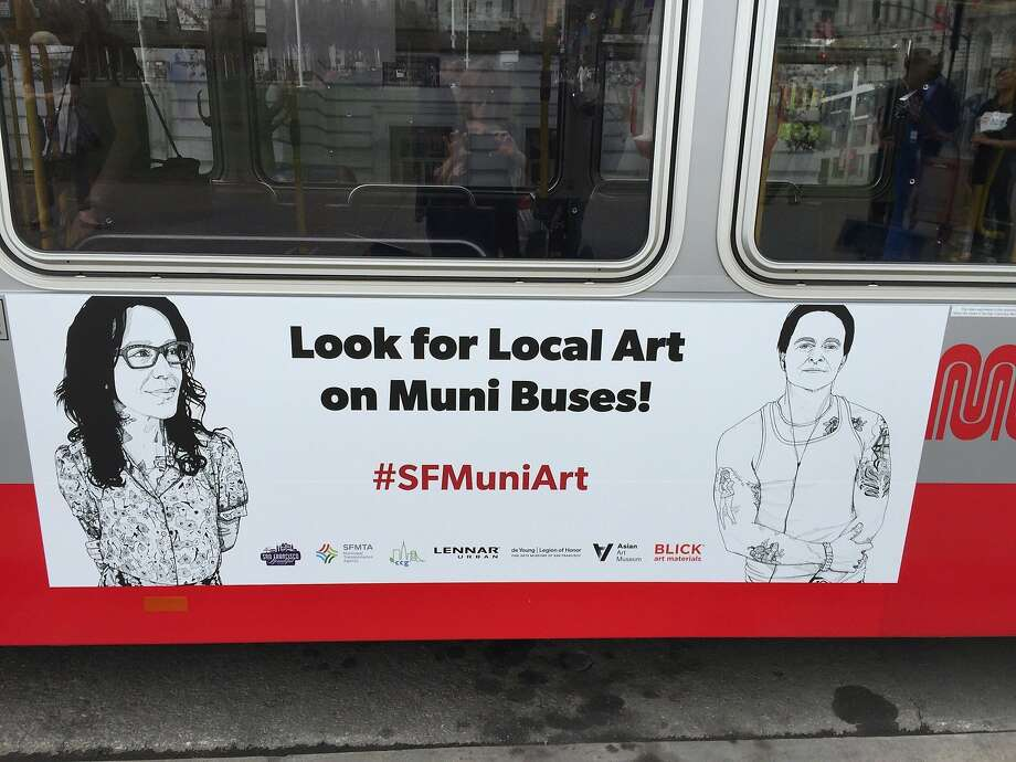 Ariel Dunitz-Johnson's pen-and-ink drawings are seen on the back of a bus. Photo: Ariel Dunitz-johnson, Handout