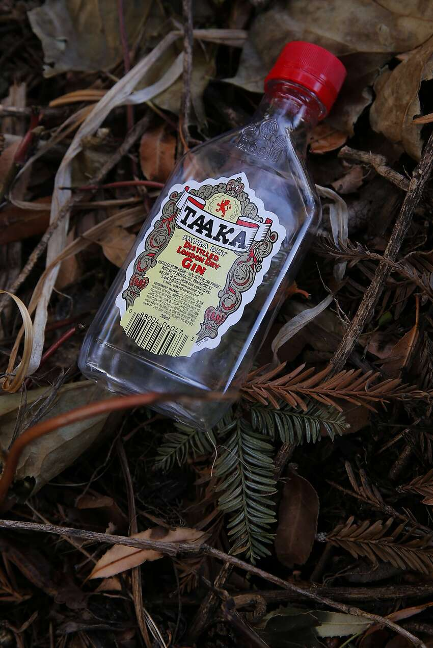 Neighbors complain of trash cluttering Ohlone Park, such as this discarded gin bottle.