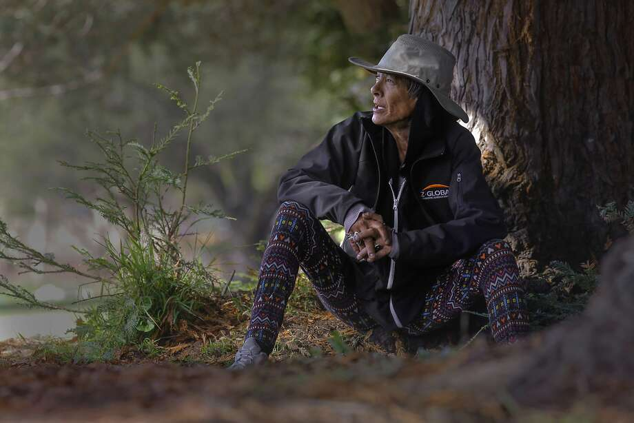 Maria Phillips, who says she has been homeless for seven years, finds refuge in Berkeley's Ohlone Park. Photo: Michael Macor, The Chronicle