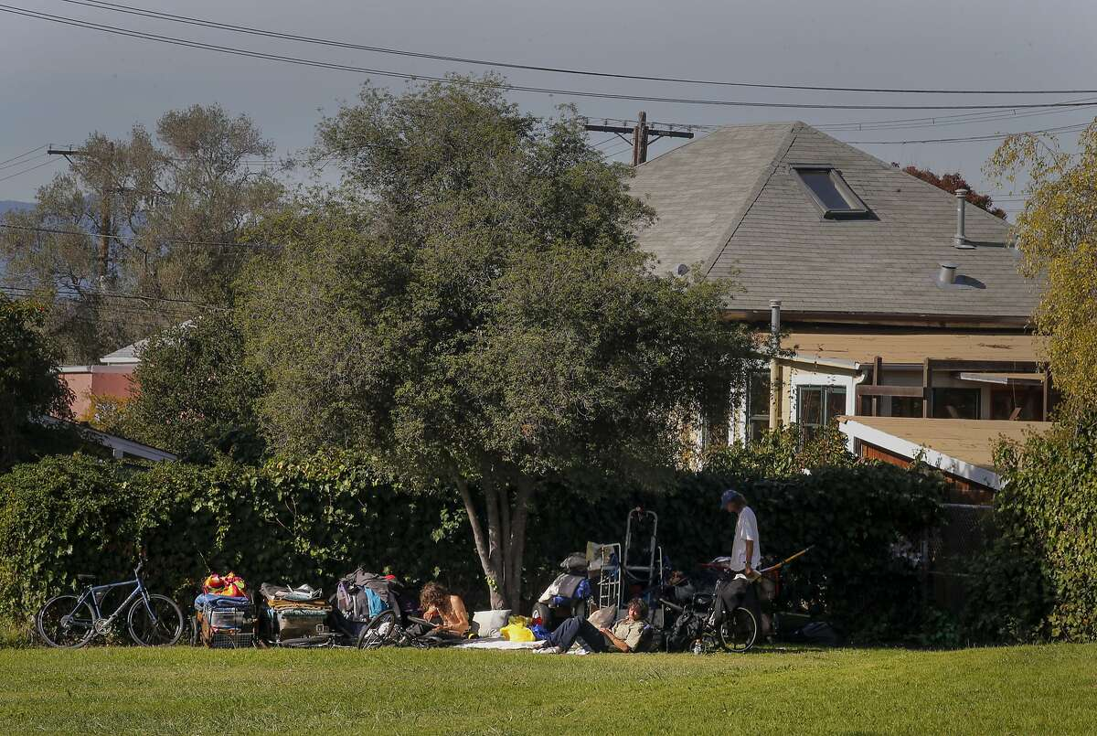 One of only a few homeless encampments set up in Ohlone Park along Hearst Ave.in Berkeley, Calif. on Tues. November 17, 2015.