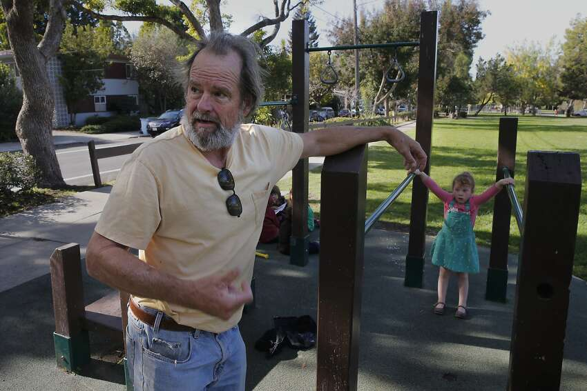 David Brownell, a pre-school teacher who lives nearby, comments on the homeless people living at Ohlone Park along Hearst Ave. in Berkeley, Calif. on Tues. November 17, 2015.
