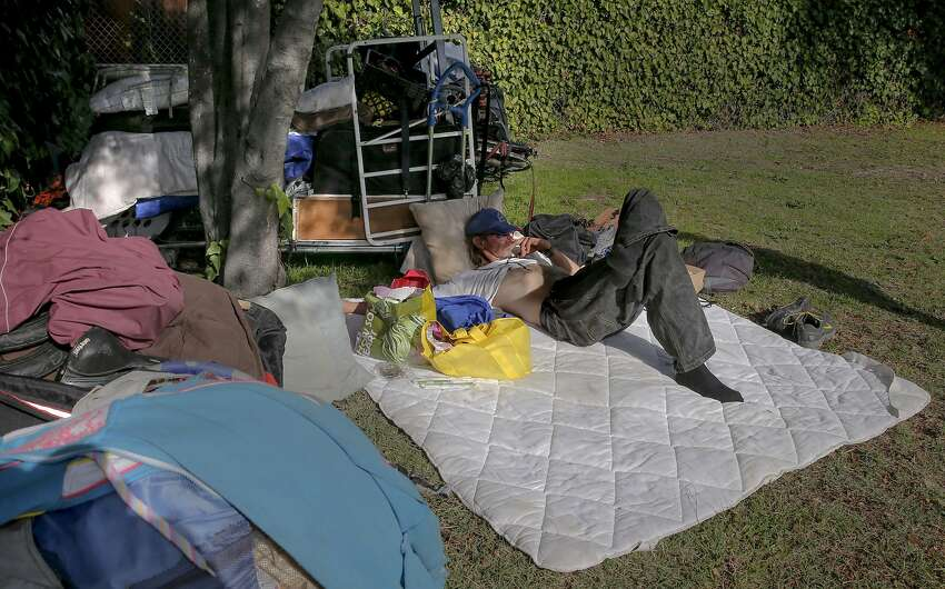 A homeless man who calls himself Tree lives in an encampment at Berkeley's Ohlone Park.