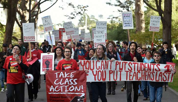 Students and faculty march at San Francisco State University on November 17, 2015. The California Faculty Association organized a protest this afternoon to help faculty members express their desire for a 5% increase in their salaries to keep up with the high cost of living in San Francisco.
