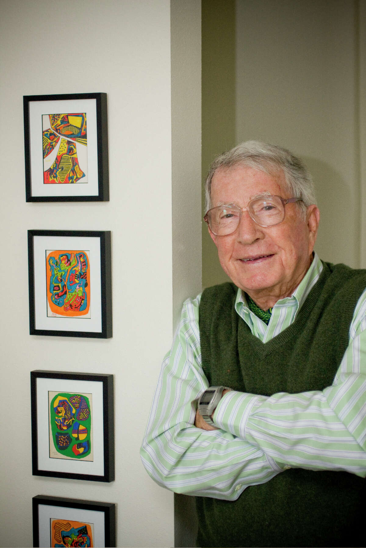 Frank O. Hamilton, a ceramist who taught himself to paint, worked primarily in acrylics.