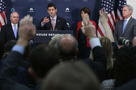 """Speaker of the House Paul Ryan (R-WI) (2nd L) answers reporters' questions during a news briefing with (L-R) Majority Whip Steve Scalise (R-LA), Rep. Cathy McMorris Rogers (R-WA) and Majority Leader Kevin McCarthy (R-CA) following the weekly Republican Conference meeting at the U.S. Capitol November 16, 2015 in Washington, DC. """"This is a time to be safe not sorry,"""" said Ryan when talking about crafting provisions to increase vetting and restrict the number of Syrian refugees allowed to enter the United States. He also said the Autorization of Military Use bill he will soon sign will require President Barack Obama to come up with a comprehensive plant to defeat the Islamic State, or ISIS."""