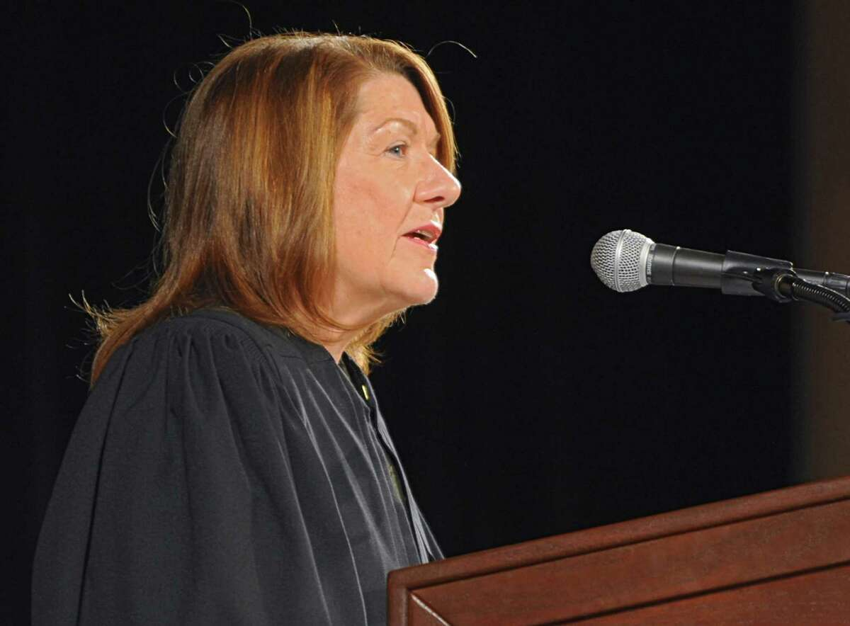 Hon. Karen Peters gives the introductory remarks during a ceremony where about 750 people were sworn in as newly admitted members of the New York State Bar by the Court at the Empire State Convention Center on Thursday, Jan. 23, 2014 in Albany, N.Y. (Lori Van Buren / Times Union)
